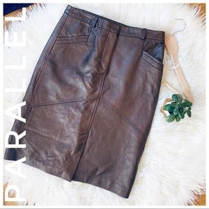 PARALELL leather pencil skirt in metallic brown